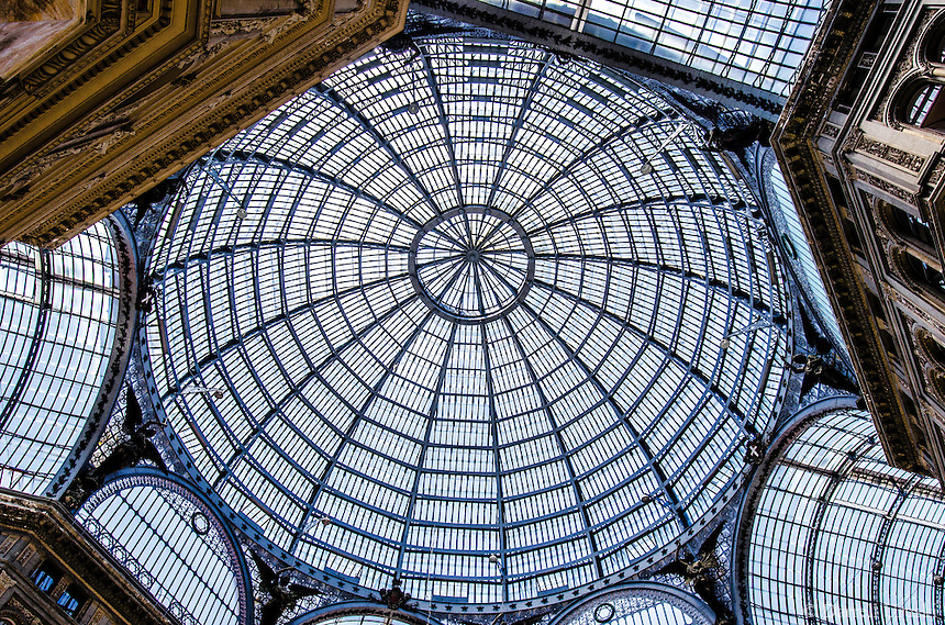 Fine Art Print Photograph of the Galleria Umberto I In the City of Naples. The street is covered by an arching glass and cast iron roof, a popular design for 19th-century arcades.<br />