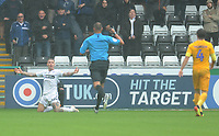 Swansea City's Barrie McKay looks to referee James Linington as his side are awarded a penalty<br /> <br /> Photographer Kevin Barnes/CameraSport<br /> <br /> The EFL Sky Bet Championship - Swansea City v Preston North End - Saturday August 11th 2018 - Liberty Stadium - Swansea<br /> <br /> World Copyright &copy; 2018 CameraSport. All rights reserved. 43 Linden Ave. Countesthorpe. Leicester. England. LE8 5PG - Tel: +44 (0) 116 277 4147 - admin@camerasport.com - www.camerasport.com
