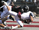 Lindenwood's Philepae Phillips (99, top) brings down a St. Francis player in the third quarter. Lindenwood hosted the St. Francis Fighting Saints Saturday afternoon.