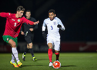 Jay Dasilva (Chelsea) of England U19 takes on Alex Petkov (Heart of Midlothian) of Bulgaria U19 during the International friendly match between England U19 and Bulgaria U19 at Adams Park, High Wycombe, England on 10 October 2016. Photo by Andy Rowland.