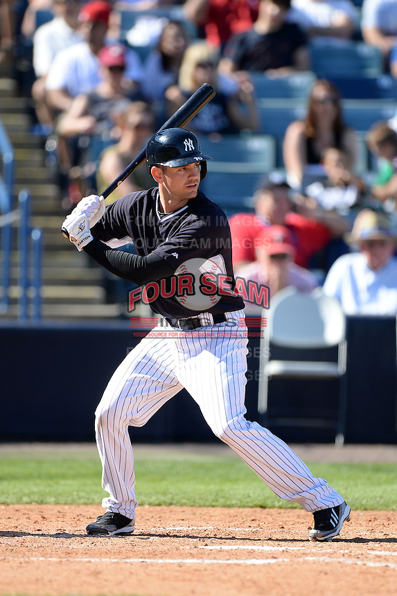 Shortstop Addison Maruszak (99) of the New York Yankees during a spring training game against the Philadelphia Phillies on March 1, 2014 at Steinbrenner Field in Tampa, Florida.  New York defeated Philadelphia 4-0.  (Mike Janes/Four Seam Images)