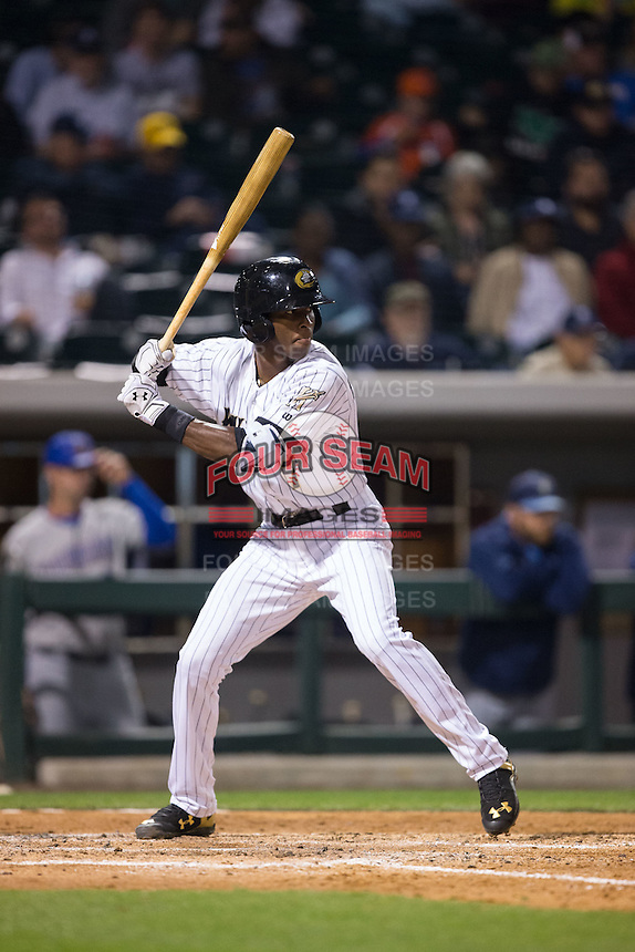 Tim Anderson (7) of the Charlotte Knights at bat against the Durham Bulls at BB&T BallPark on April 14, 2016 in Charlotte, North Carolina.  The Bulls defeated the Knights 2-0.  (Brian Westerholt/Four Seam Images)