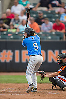 Deion Tansel (9) of the Hudson Valley Renegades at bat against the Aberdeen IronBirds at Leidos Field at Ripken Stadium on July 27, 2017 in Aberdeen, Maryland.  The Renegades defeated the IronBirds 2-0 in game one of a double-header.  (Brian Westerholt/Four Seam Images)