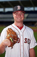 GCL Red Sox pitcher Logan Allen (26) poses for a photo before the first game of a doubleheader against the GCL Rays on August 4, 2015 at Charlotte Sports Park in Port Charlotte, Florida.  GCL Red Sox defeated the GCL Rays 10-2.  (Mike Janes/Four Seam Images)