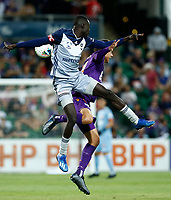1st February 2020; HBF Park, Perth, Western Australia, Australia; A League Football, Perth Glory versus Melbourne Victory; Kenny Athiu of Melbourne Victory and Kristian Popovic of the Perth Glory compete for the header
