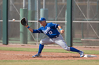 Kansas City Royals first baseman Nick Pratto (13) during an Instructional League game against the San Francisco Giants at the Giants Training Complex on October 17, 2017 in Scottsdale, Arizona. (Zachary Lucy/Four Seam Images)
