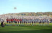 The Bath team line up prior to the match. Aviva Premiership match, between Bath Rugby and Harlequins on October 31, 2015 at the Recreation Ground in Bath, England. Photo by: Alex Davidson / JMP for Onside Images