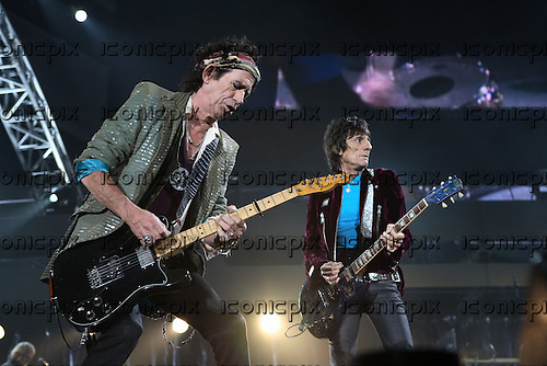 ROLLING STONES - guitarists Keith Richards and Ronnie Wood performing live on A Bigger Bang Tour at Dodger Stadium in Los Angeles, CA USA -  November 22, 2006.  Photo © Kevin Estrada / Iconicpix