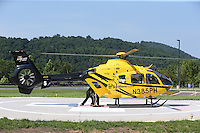 Practice run for the new helicopter landing station at Sentara Martha Jefferson on Pantops in Charlottesville, Va. Photo/Andrew Shurtleff
