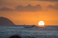 "Sunset off Kaena Point, at """"Leftovers"""" Beach, Near Haleiwa, Hawaii"
