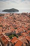 Walled city (stari grad) of Duvbrovnik, founded c. 972 along the Dalmatian Coast on the Adriatic Sea in Croatia, Island of Lokrum