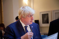 OCTOBER 15, 2015 -TOKYO, JAPAN:  London Mayor, Boris Johnson at an event at the British Embassy in Tokyo, to encourage collaboration between London and Japan in financial technology.  (Photo / Ko Sasaki  )
