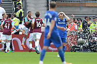 Manuel Lanzini of West Ham scores the first Goal and celebrates during West Ham United vs Everton, Premier League Football at The London Stadium on 13th May 2018