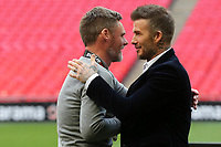 David Beckham congratulates Salford City Manager, Graham Alexander at the final whistle during AFC Fylde vs Salford City, Vanarama National League Football Promotion Final at Wembley Stadium on 11th May 2019