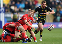 Tom Whiteley of Saracens passes the ball. Premiership Rugby Cup Final, between Northampton Saints and Saracens on March 17, 2019 at Franklin's Gardens in Northampton, England. Photo by: Patrick Khachfe / JMP