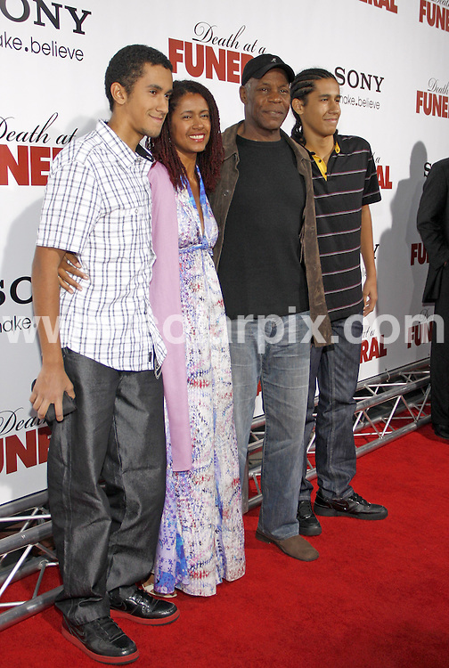 **ALL ROUND PICTURES FROM SOLARPIX.COM**.**SYNDICATION RIGHTS FOR UK, AUSTRALIA, DENMARK, PORTUGAL, S. AFRICA, SPAIN & DUBAI (U.A.E) & ASIA (EXCLUDING JAPAN) ONLY**.Death At A Funeral World Premiere - Arrivals, Pacific's Cinerama Dome, Hollywood, CA, USA, 12 April 2010.This pic: Danny Glover and Family.JOB REF: 11067   PHZ gabber   DATE: 12_04_2010.**MUST CREDIT SOLARPIX.COM OR DOUBLE FEE WILL BE CHARGED**.**MUST NOTIFY SOLARPIX OF ONLINE USAGE**.**CALL US ON: +34 952 811 768 or LOW RATE FROM UK 0844 617 7637**