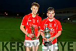 East Kerry captain Peter McCarthy and MotM Ryan Grady who won the Acorn Life U21 Football Championship Cup with their win over Feale Rangers.