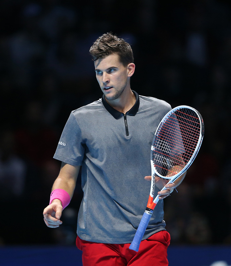 Dominic Thiem (AUT) in action against Roger Federer (SUI) in their Group Lleyton Hewitt match<br /> <br /> Photographer Rob Newell/CameraSport<br /> <br /> International Tennis - Nitto ATP World Tour Finals Day 3 - O2 Arena - London - Tuesday 13th November 2018<br /> <br /> World Copyright © 2018 CameraSport. All rights reserved. 43 Linden Ave. Countesthorpe. Leicester. England. LE8 5PG - Tel: +44 (0) 116 277 4147 - admin@camerasport.com - www.camerasport.com