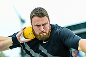"""16th March 2018, Retro Sports Facility, Christchurch, New Zealand;  Tom Walsh (NZ) during """"The Big Shot""""  shot-put competition"""