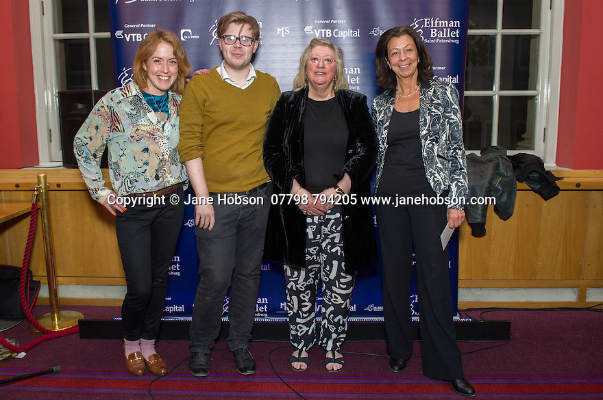 London, UK. 15.04.2014. Eifman Ballet after-party on press night for the opening of Rodin, Sky Bar, London Coliseum. Pictured: (third left) Patricia Murray-Bett (Classical Events Limited) and (far right) Judy Lipsey (Premier PR). Photograph © Jane Hobson.