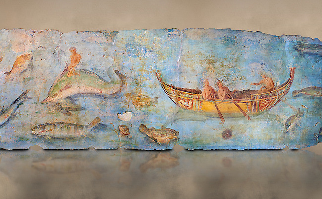 Roman Fresco with boats and marine life from the second quarter of the first century AD. (mosaico fauna marina da porto fluviale di san paolo), museo nazionale romano ( National Roman Museum), Rome, Italy. inv. 121462 .  Against an art background.<br /> The frescoes depict boats decorated as boats which went along the Tiber on festival days; their shape appears to be the caudicariae boats, used to transport merchandise. In the fresco fragment exhibited here (Ambiente E) the boat on the left depicts probably the group of 'side Serapide and Demetra on the stern, whereas the one on the right presents a crowned character on the bow and, on the stern, a feminine figure fluctuating in the air. Between the two boats, a young boy (a cupid or Palaimon-Portunus) rides a dolphin. All around are depicted several fish incredibly casting their shadows on the sea. The ichthyic fauna, lifeless as in still life decoration, is detailed as in a scientific catalogue. For the most part the represented species live next to the coast or were bred by the Romans in the piscinae salsac or in ponds. It is possible to recognize the rock mullet (mullus sunnuletus) and the mud one (mullus barbatu4 the scorpion fish (scorpoena) the dentex (dentex dentex), the aguglia (belone agus) the dolphin (delphinus delphis) and the golden mullet (lire curate).