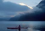 Kayaker, Mount Baker, Baker Lake, sunrise, Washington State, Cascade Mountains, Pacific Northwest, USA, Scott Wellsandt, released,.