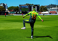 Rumman Raees stretches in the outfield during the One Day International cricket match between the NZ Black Caps and Pakistan at the Basin Reserve in Wellington, New Zealand on Saturday, 6 January 2018. Photo: Dave Lintott / lintottphoto.co.nz