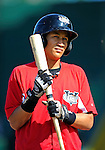 2 July 2011: Tri-City ValleyCats infielder Hector Rodriguez awaits his turn in the batting cage prior to a game against the Vermont Lake Monsters at Centennial Field in Burlington, Vermont. The Monsters rallied from a 4-2 deficit to defeat the ValletCats 7-4 in NY Penn League action. Mandatory Credit: Ed Wolfstein Photo