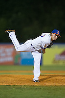 Kingsport Mets relief pitcher Witt Haggard (17) in action against the Elizabethton Twins at Hunter Wright Stadium on July 9, 2015 in Kingsport, Tennessee.  The Twins defeated the Mets 9-7 in 11 innings. (Brian Westerholt/Four Seam Images)
