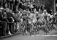 Fleche Wallonne 2012..pelotons first attack of the Mur de Huy