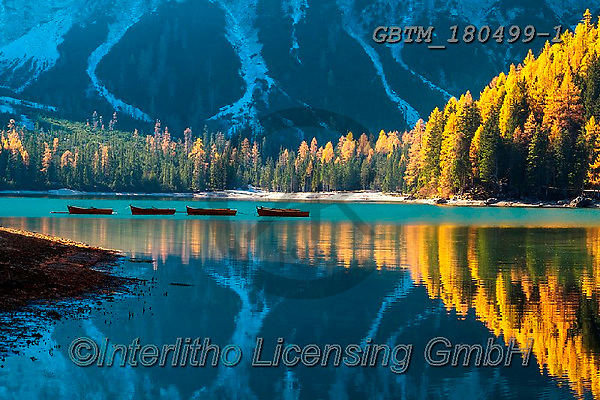 Tom Mackie, LANDSCAPES, LANDSCHAFTEN, PAISAJES, photos,+Dolomites, Dolomiti, Europa, Europe, European, Italian, Italy, South Tyrol, Tom Mackie, Trentino, UNESCO World Heritage Site,+atmosphere, atmospheric, autumn, autumnal, blue, boat, boats, dramatic outdoors, fall, horizontally, horizontals, inspiratio+nal, lake, lakes, landscape, landscapes, larch, larches, mirror image, mood, moody, peaceful, reflect, reflecting, reflection+, reflections, scenery, scenic, season, tourist attraction, tranquil, tranquility, tree, tr,Dolomites, Dolomiti, Europa, Euro+,GBTM180499-1,#l#, EVERYDAY