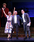 "Joel Grey and Clyde Alves and cast during the final performance curtain call for the New York City Center Encores! at 25 production of  ""Hey, Look Me Over!"" on February 11, 2018 at the City Center Theatre in New York City."