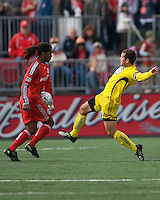 02 May 2009: Columbus Crew forward Alejandro Moreno #10 and Toronto FC defender Adrian Serioux #15 in action at BMO Field in a game between the Columbus Crew and Toronto FC. .The game ended in a 1-1 draw...