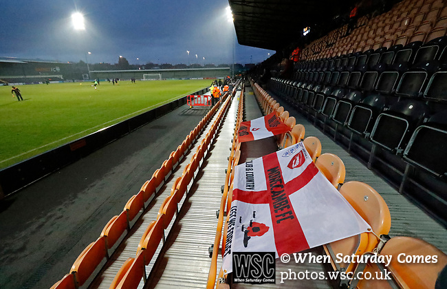 Barnet 2 Morecambe 0, 16/12/2017. The Hive, League Two. Morecambe fans flags. Photo by Paul Thompson.