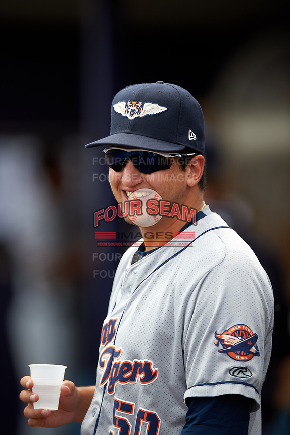 Lakeland Flying Tigers pitcher A.J. Ladwig (50) in the dugout during a game against the Charlotte Stone Crabs on April 16, 2017 at Charlotte Sports Park in Port Charlotte, Florida.  Lakeland defeated Charlotte 4-2.  (Mike Janes/Four Seam Images)