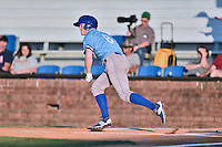 Burlington Royals right fielder Kort Peterson (8) runs to first base during Game Two of the Appalachian League Championship series against the Johnson City Cardinals at TVA Credit Union Ballpark on September 7, 2016 in Johnson City, Tennessee. The Cardinals defeated the Royals 11-6 to win the series 2-0.. (Tony Farlow/Four Seam Images)