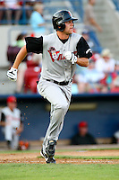 July 20 2008:  Caleb Curry of the Salem-Keizer Volcanoes, Short Season Class-A affiliate of the San Francisco Giants, during a game at Home of the Avista Stadium in Spokane, WA.  Photo by:  Matthew Sauk/Four Seam Images