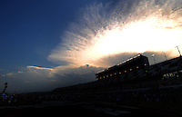 Jul. 5, 2008; Daytona Beach, FL, USA; The sun sets over the track prior to the NASCAR Sprint Cup series Coke Zero 400 at Daytona International Speedway. Mandatory Credit: Mark J. Rebilas-
