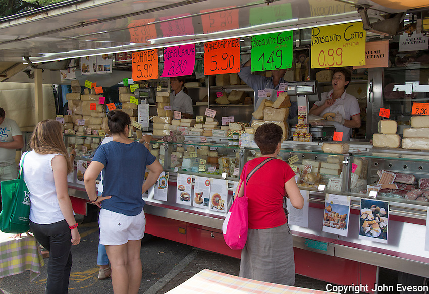 Cheese stall at Iseo, Lake Iseo, Lombardy, Italy.