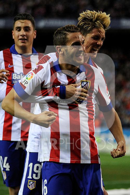 Atletico de Madrid´s Koke and Fernando Torres celebrates a goal during 2014-15 La Liga match between Atletico de Madrid and Valencia CF at Vicente Calderon stadium in Madrid, Spain. March 08, 2015. (ALTERPHOTOS/Luis Fernandez)