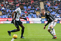 Bolton Wanderers' Sammy Ameobi challenges Fulham's  Matt Targett<br /> <br /> Photographer Andrew Kearns/CameraSport<br /> <br /> The EFL Sky Bet Championship - Bolton Wanderers v Fulham - Saturday 10th February 2018 - Macron Stadium - Bolton<br /> <br /> World Copyright &copy; 2018 CameraSport. All rights reserved. 43 Linden Ave. Countesthorpe. Leicester. England. LE8 5PG - Tel: +44 (0) 116 277 4147 - admin@camerasport.com - www.camerasport.com