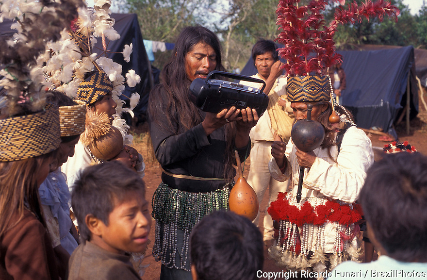 Brazil. Guarani-Kaiov?ndigenous people. Natives record their songs and cultural traditions. Preserving culture and history.