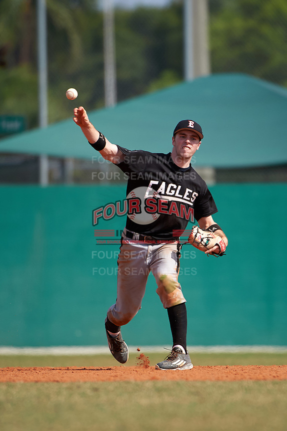 Edgewood Eagles Jonathan Roehler (9) during the first game of a doubleheader against the Lasell Lasers on April 14, 2016 at Terry Park in Fort Myers, Florida.  Edgewood defeated Lasell 9-7.  (Mike Janes/Four Seam Images)