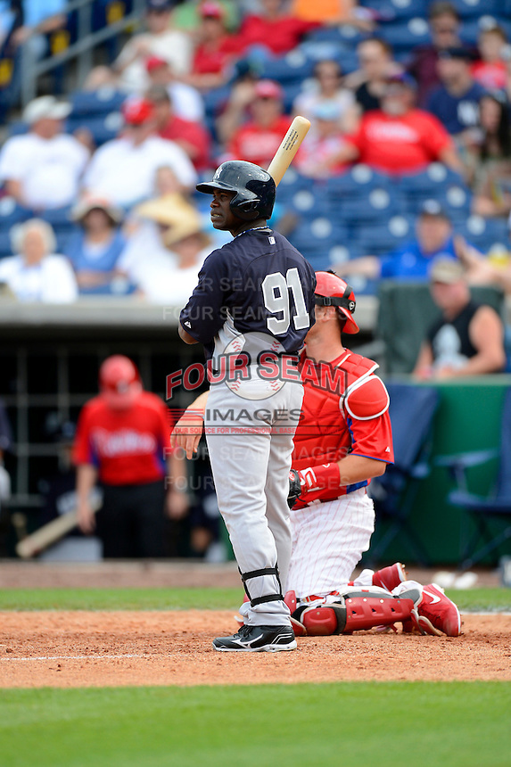 New York Yankees outfielder Adonis Garcia #91 during a Spring Training game against the Philadelphia Phillies at Bright House Field on February 26, 2013 in Clearwater, Florida.  Philadelphia defeated New York 4-3.  (Mike Janes/Four Seam Images)
