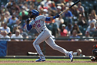 SAN FRANCISCO, CA - SEPTEMBER 2:  Austin Jackson #16 of the New York Mets bats against the San Francisco Giants during the game at AT&T Park on Sunday, September 2, 2018 in San Francisco, California. (Photo by Brad Mangin)