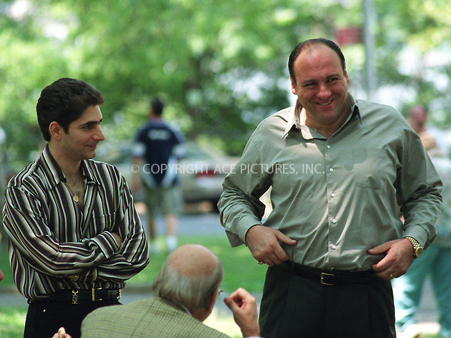 "James Gandolfini and Michael Imperioli on the set of HBO's series ""The Sopranos"" in Astoria Park, Queens. June 21, 2002. Please byline: Alecsey Boldeskul/NY Photo Press.   ..*PAY-PER-USE*      ....NY Photo Press:  ..phone (646) 267-6913;   ..e-mail: info@nyphotopress.com"