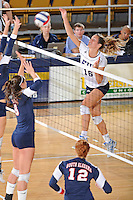 13 November 2010:  FIU's Jovana Bjelica (16) hits a kill shot in the third set as the FIU Golden Panthers defeated the South Alabama Jaguars, 3-0 (25-12, 25-12, 25-20), at U.S Century Bank Arena in Miami, Florida.