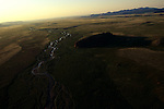 Aerial view of the Mesa site on the tundra, North of Brooks Range, Northern Alaska, eastern Beringia.