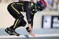 29th November 2019; Yas Marina Circuit, Abu Dhabi, United Arab Emirates; Formula 1 Abu Dhabi Grand Prix, practice day; Renault Sport F1 Team, Daniel Ricciardo leaps the track barrier as he stops on circuit due to engine failure - Editorial Use
