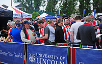 Lincoln City fans enjoy the pre-match atmosphere<br /> <br /> Photographer Andrew Vaughan/CameraSport<br /> <br /> The EFL Sky Bet League Two Play Off First Leg - Lincoln City v Exeter City - Saturday 12th May 2018 - Sincil Bank - Lincoln<br /> <br /> World Copyright &copy; 2018 CameraSport. All rights reserved. 43 Linden Ave. Countesthorpe. Leicester. England. LE8 5PG - Tel: +44 (0) 116 277 4147 - admin@camerasport.com - www.camerasport.com